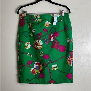 J Crew Basketweave Floral Pencil Skirt